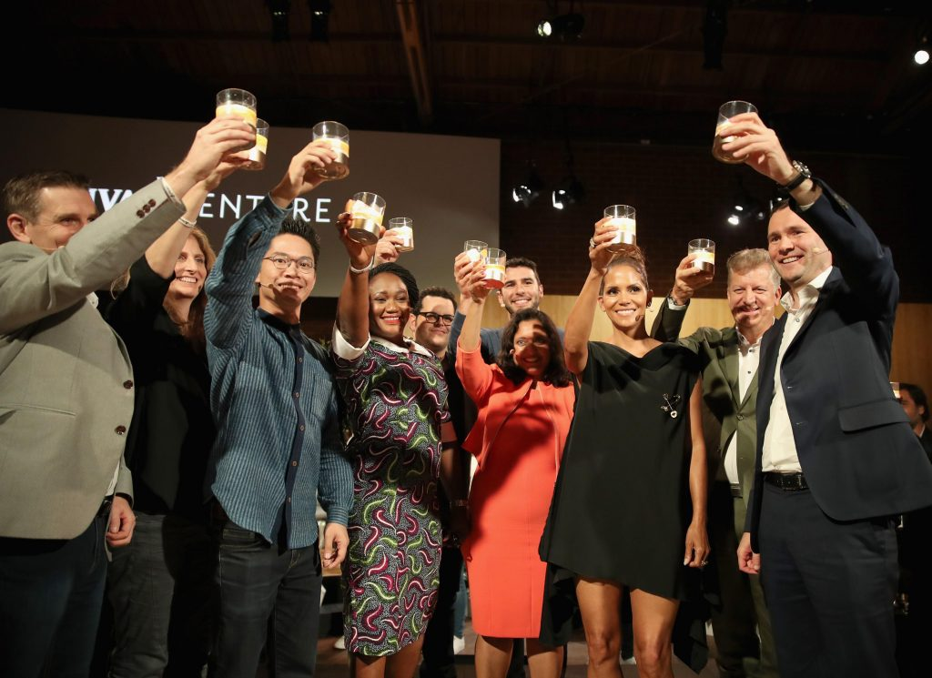 LOS ANGELES, CA - JULY 13: Actor Halle Berry and The Grand Finalists at The Chivas Venture $1m Global Startup Competition at LADC Studios on July 13, 2017 in Los Angeles, California. (Photo by Christopher Polk/Getty Images for Chivas Regal)